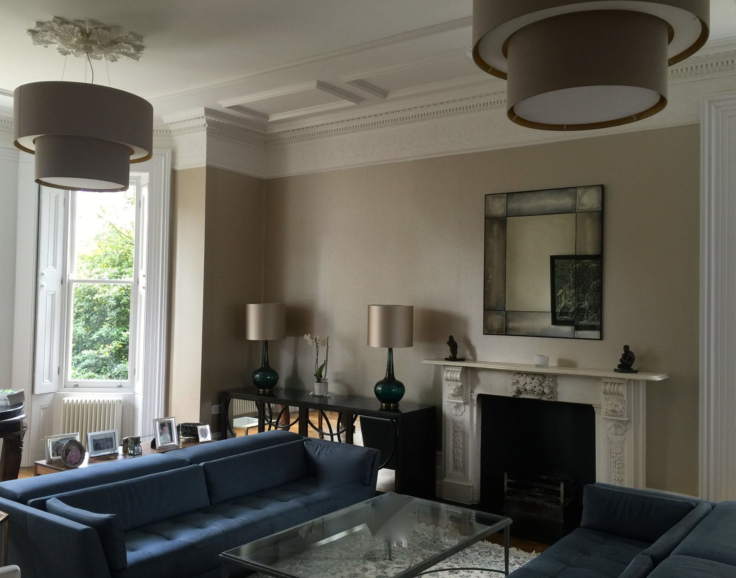 Aberdeen Terrace  sitting room, bespoke drum shades with bronze lining and diffuser, set with Teal Blue Table lamps and silk taupe shades.