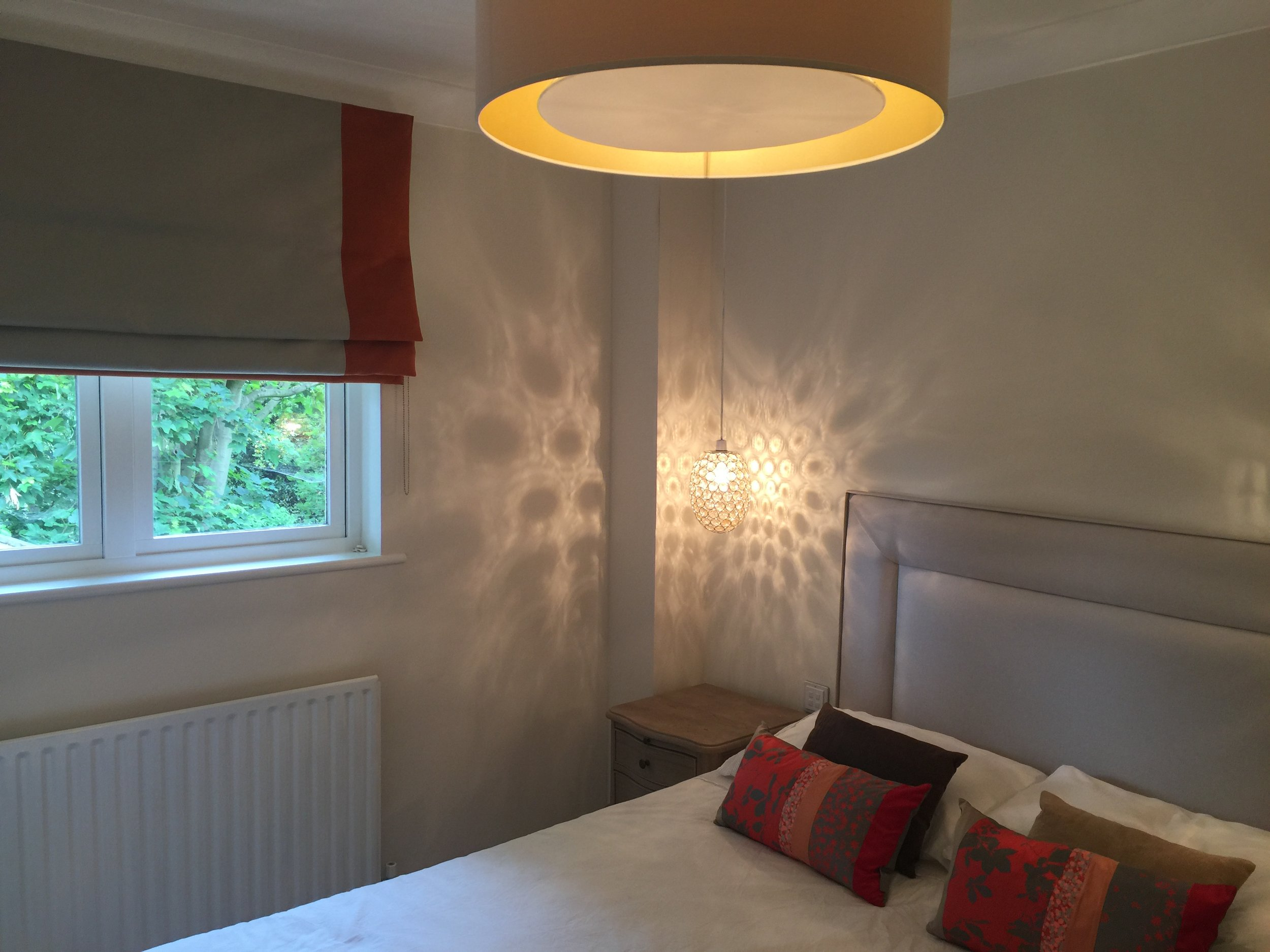 Granville Park  interior design project:  Pretty pendent lights creating and a bespoke cylinder lampshade with diffuser to create a very soft and pretty light, controlled with dimmer switches.