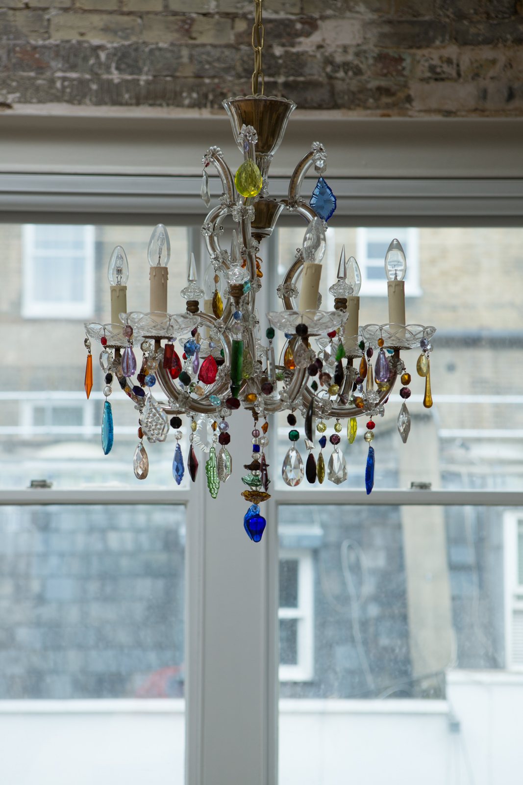 Lancaster Gate  interior design project with the 6 arm Marie Therese multi coloured drops and swags vintage chandelier