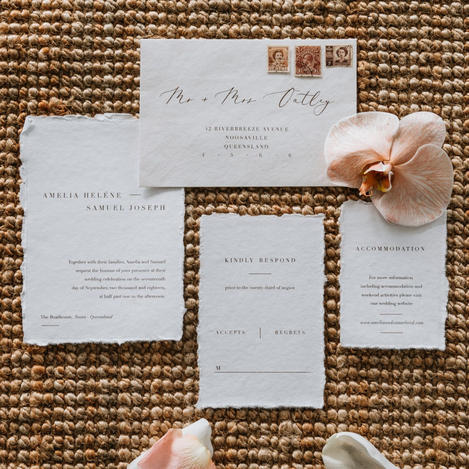 Wedding Stationery - We are such self-confessed lovers of paper stationery & printing. Let's touch all the textures and talk about all the colours & print options! We have got you covered from save the dates, invitation suites, menus, all the way to the last thank-you card. If you are unsure where to start, Jane will work with you to discover your style and then capture that so that your paper stationery tells your love story. We have custom and pre-designed options to help cater for a range of budgets and styles.Finishing touches are what we are all about…it's the little details that we just love! Wax seals, handmade papers, white ink printing or hand dyed silk ribbons, we love them all.