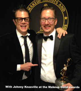 Stephen Prouty with Johnny Knoxville at the Makeup Guild Awards