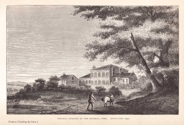 York Retreat original building c.1796, Gemälde von Carve.
