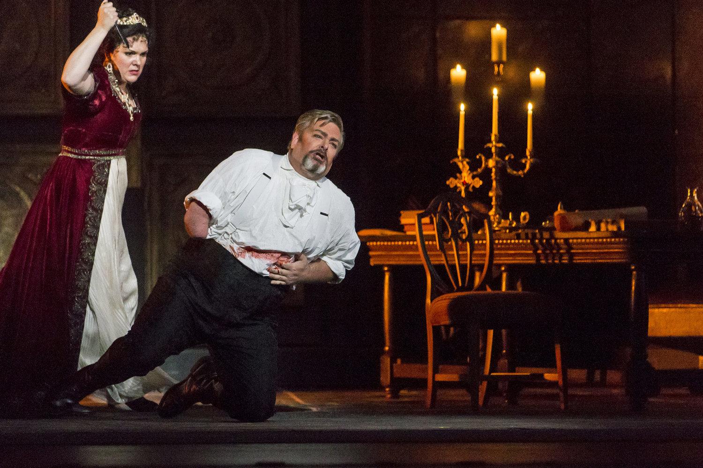 Evelina Dobraceva as Floria Tosca and Weston Hurt as Scarpia in  Tosca  at Tulsa Opera (2017).Photo by Shane Bevel.