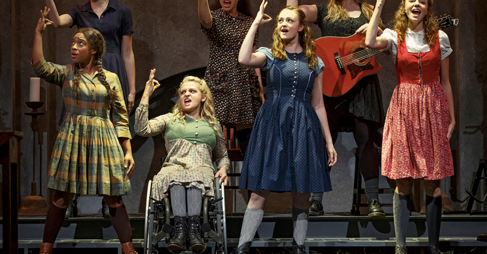 Treshelle Edmond, Ali Stroker, Amelia Hensley and Lauren Luiz in  Deaf West Theatre 's  Spring Awakening (2015) .Photo by Joan Marcus.
