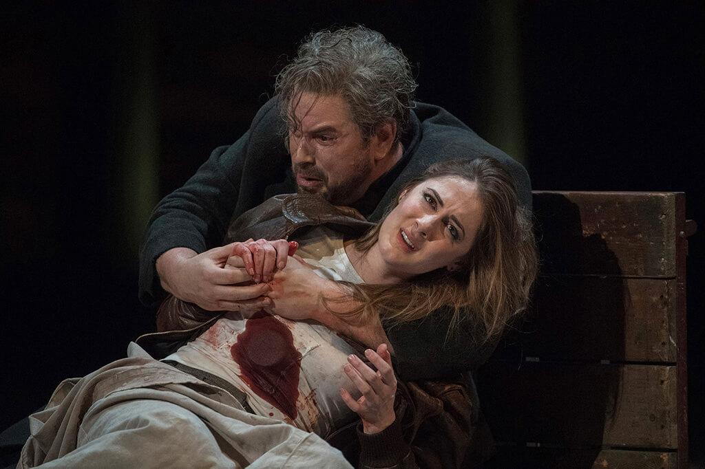 Nicholas Pallesen as Rigoletto and Sydney Mancasola as Gilda in the English National Opera's2017 production of 'Rigoletto'. Photograph: Alasdair Muir.