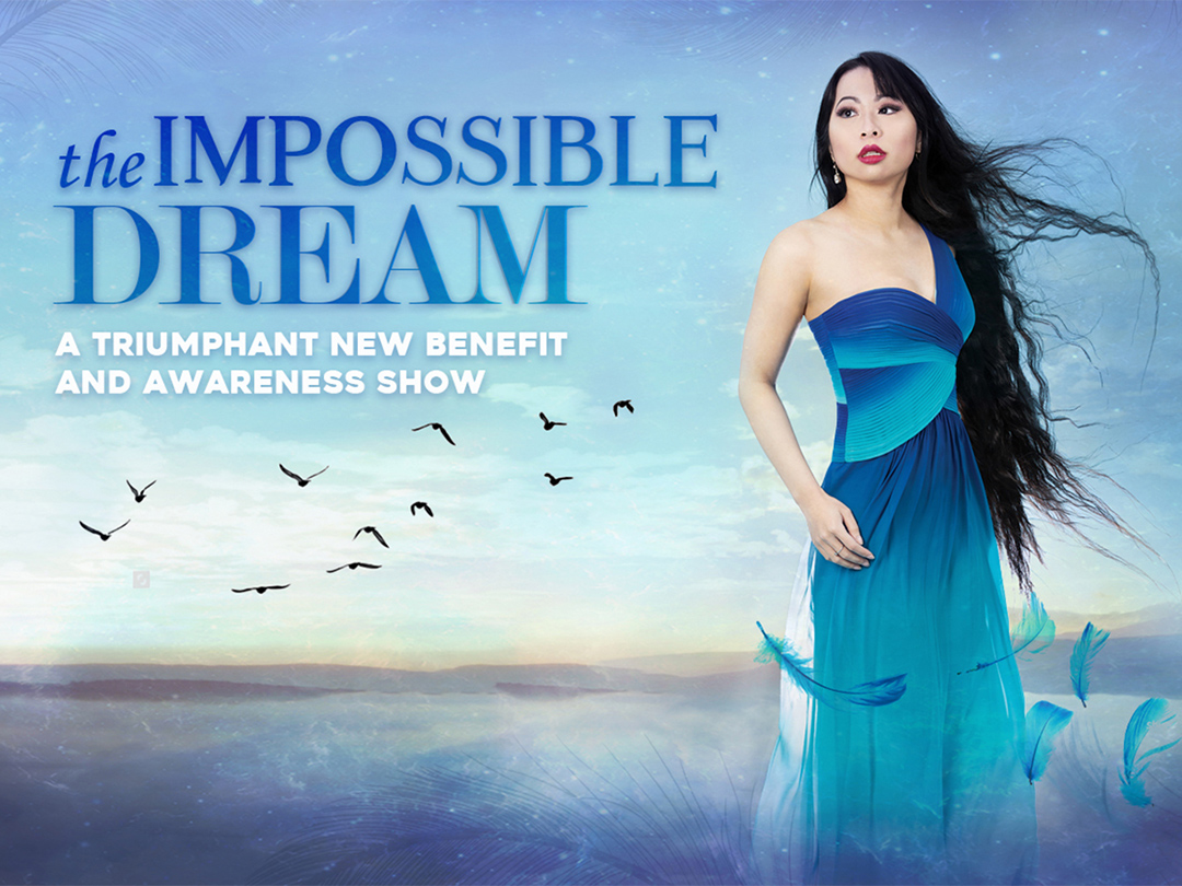 Promotional Poster for 'The Impossible Dream'. Jacqueline is wearing a blue gown and is surrounded by beautiful scenery and birds. The text reads: 'The Impossible Dream: A triumphant new benefit and awareness show'. Photograph: Kathryn Nickford.