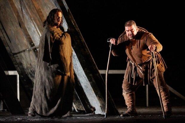 Andrea Mastroni as Sparafucile and Dimitri Platanias as Rigoletto in  Rigoletto  (Royal Opera House, 2016) Photograph by Mark Douet.