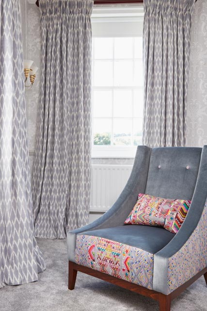 Manor Bedroom - Toliman Ikat Curtains, Ashton Chair, Brocade Cushions - A Rum Fellow-2.jpg