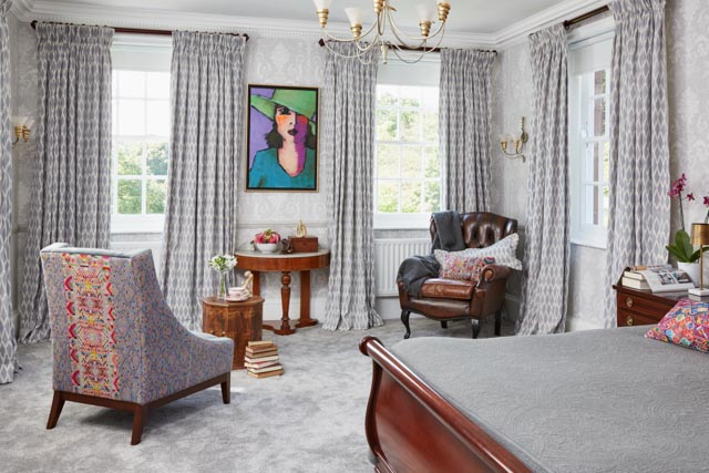 Manor Bedroom - Toliman Ikat Curtains, Ashton Chair, Brocade Cushions - A Rum Fellow.jpg