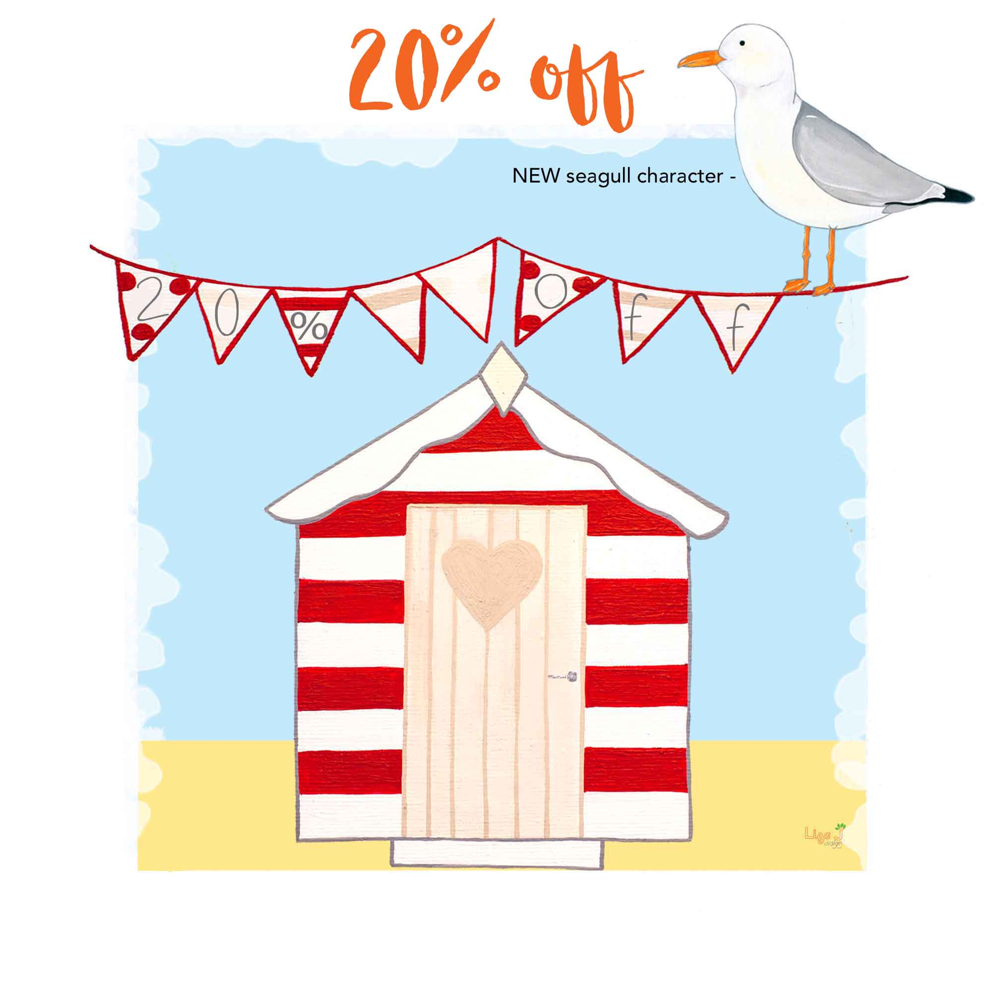 20% off the Beach Hut card design