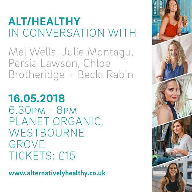 EVENT 🔊🔔 - After the huge success of our last '@alternativelyhealthy In conversation with' panel event, I am so excited to say we ARE BACK. AND THIS TIME, I am bringing FOUR of the industry's leading ladies to the line up at @planetorganic. I am SO PROUD to host and bring together leading life coaches @iammelwells + @juliemontagu , relationship + love guru @persialawson and anxiety expert @chloebrotheridge for an ultimate evening of self-love, wellness, confidence boosting and sharing our tips to be the healthiest, happiest YOU.  FOR 24 HOURS ONLY I AM DOING £10 EARLY BIRD TICKETS - this event sold out in two days 100 people last time, so be sure to grab yours ASAP. More details and link to purchase in my bio 💛💛 #wellness #event #love #happy #ALT