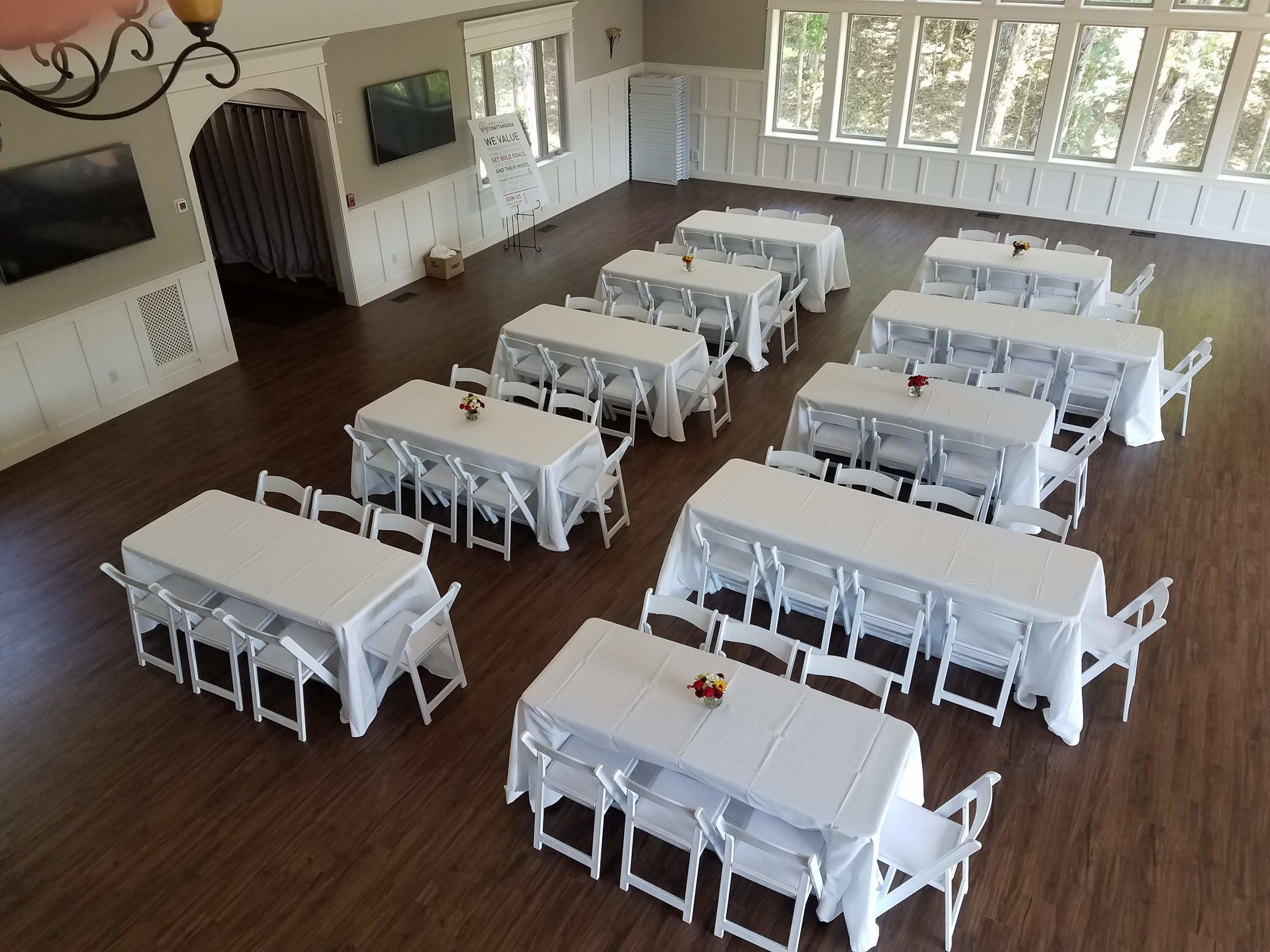 Windsor Hall set up can be set up for corporate events as well