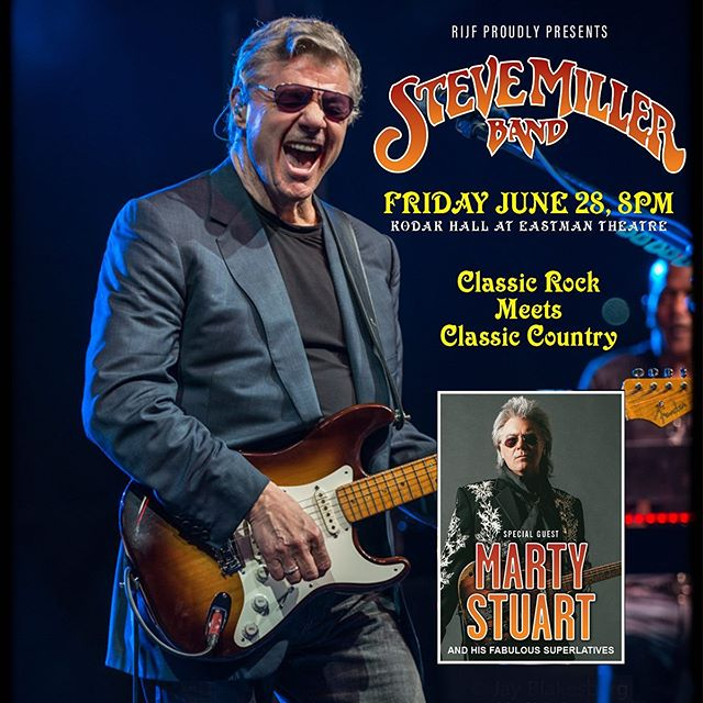 Discounted rush ticket offer for headliner Steve Miller Band starting at noon today!⁣ ⁣ Discounted last minute rush tickets (limited number) for tonight's Steve Miller Band + Marty Stuart & His Fabulous Superlatives show at 8 p.m. at Kodak Hall at Eastman Theatre, will be available for purchase:⁣ ⁣ IN PERSON ONLY AT:⁣ * Jazz Fest Ticket Shop - 100 East Ave, corner of East Ave & Gibbs - From 12 Noon to 8:00 p.m. Cash or credit card.⁣ * Box Office in Eastman Theatre Lobby - 26 Gibbs St, Rochester, 6:45 p.m. to 8:30 p.m. Cash or credit card.⁣ ⁣ Balcony seats: $63 + $7 Service Fee – $70 total per seat.⁣ ⁣ No phone sales for rush seats.⁣ No online sales for rush seats.⁣ Tickets must be purchased in person.⁣ ⁣ ・・・⁣ ⁣ #RIJF #CGIRocJazzFest #RocJazzFest #CGIRIJF #RIJF2019 #RIJF18thEdition #CGIRocJazzFest2019 #Jazz #WesternNY #Roc #Rochester #RochesterNY #DowntownRoc #UpstateNY #RocMusic #LiveMusic #UpstateNYMusic #SteveMiller #SteveMillerBand #MartyStuart #FabulousSuperlatives