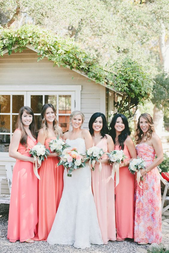 Include Your Best Girls - Color coordinate your bridesmaid dresses to stylishly embrace the golden orange and coral hues.