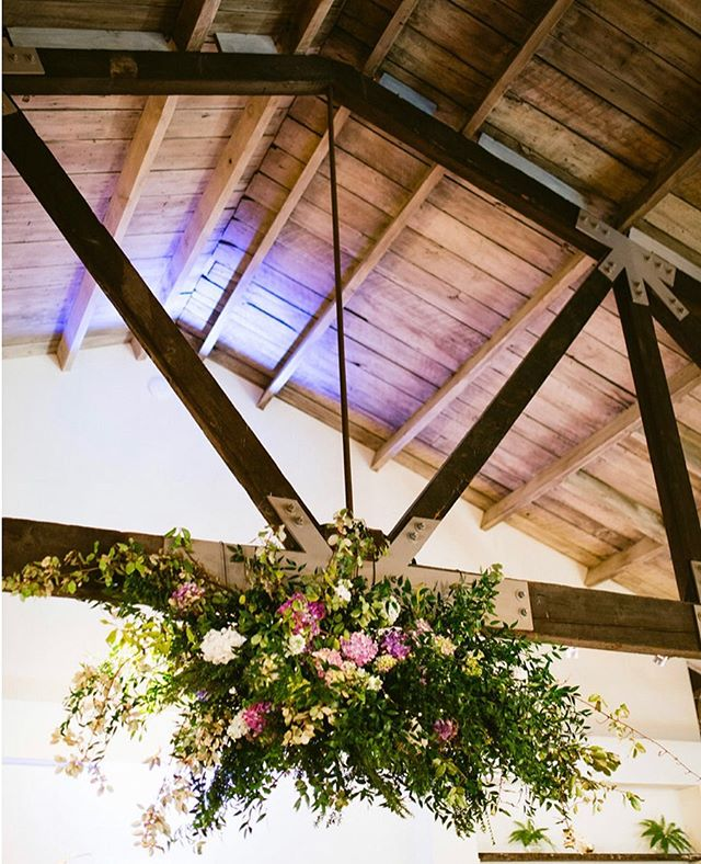 How fun and gorgeous is this floral creation by @roadsideblooms over the dance floor for Megan + Larry's big day?!
