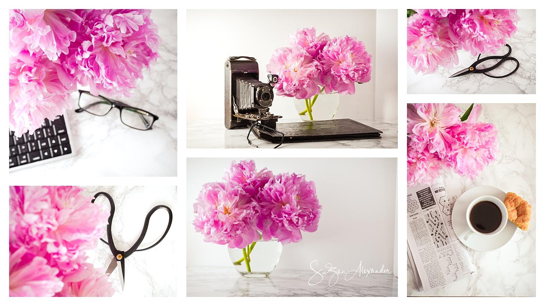 © 2018 SuZan Alexander,   Pink Peonies Collage  ,Digital Photography.