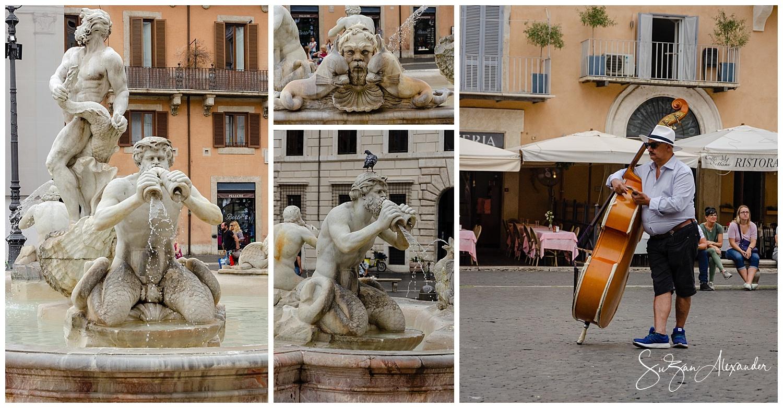 © 2018 SuZan Alexander. La Fontana del Moro Fountain and Musician Collage. Digital Photography
