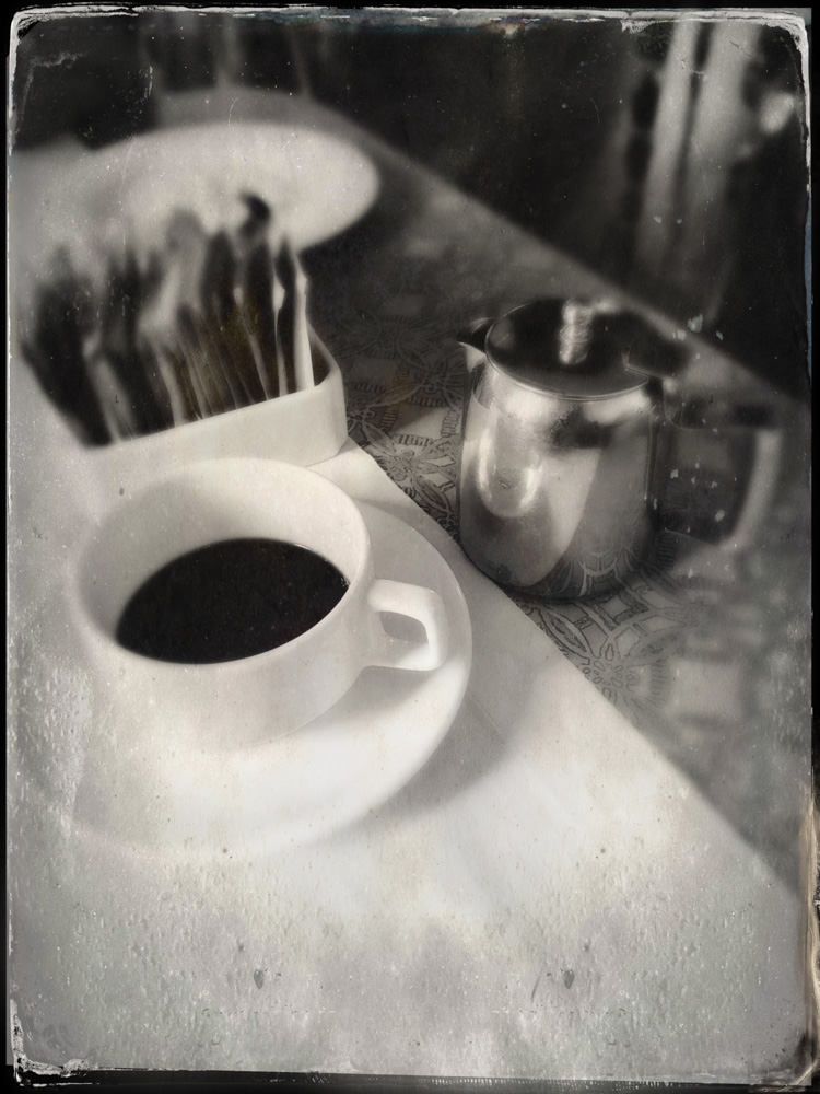 © 2019 SuZan Alexander.   Morning Coffee   (faux tintype). iPhone Photography