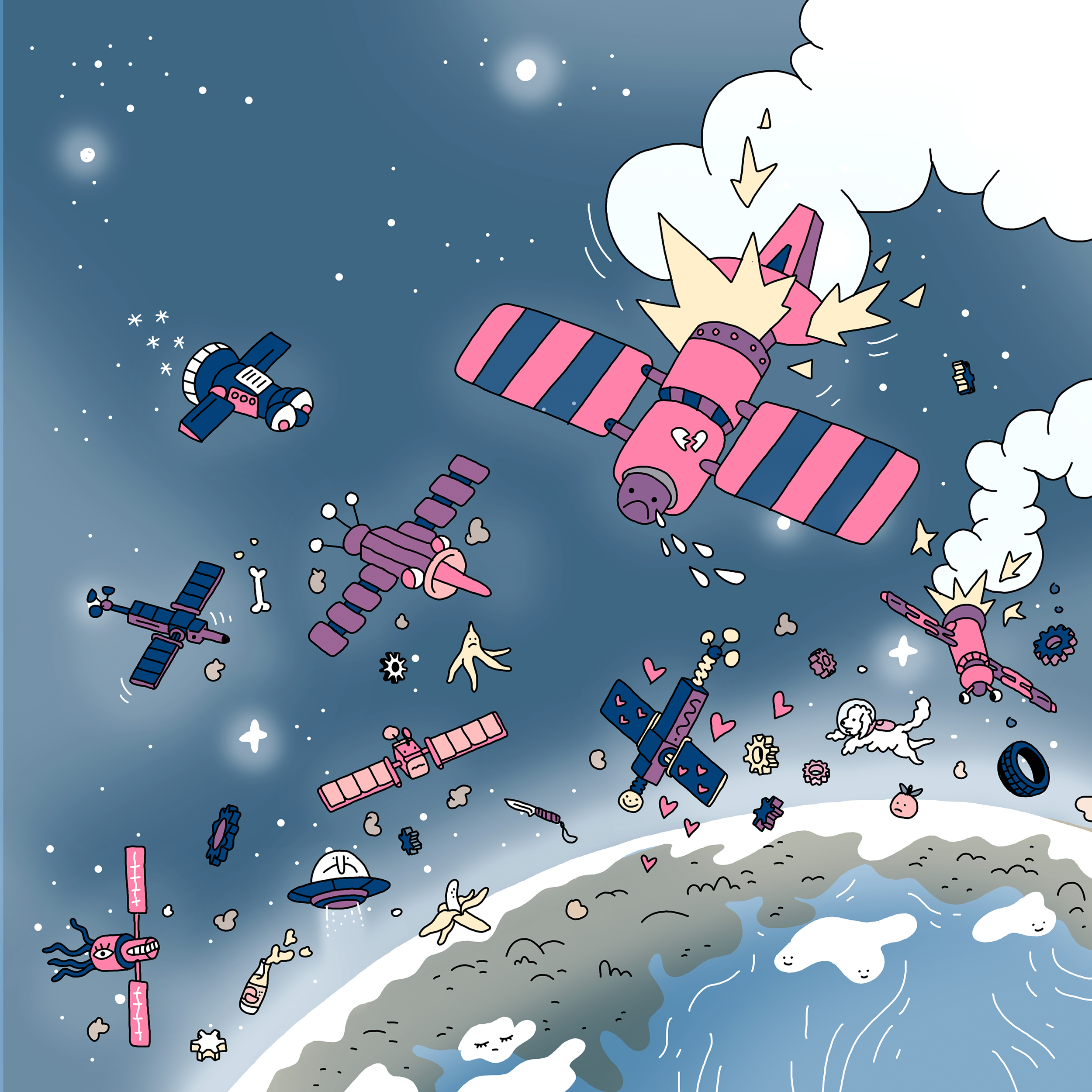 Last Night All Satellites Exploded | Mirko Röper | Illustration