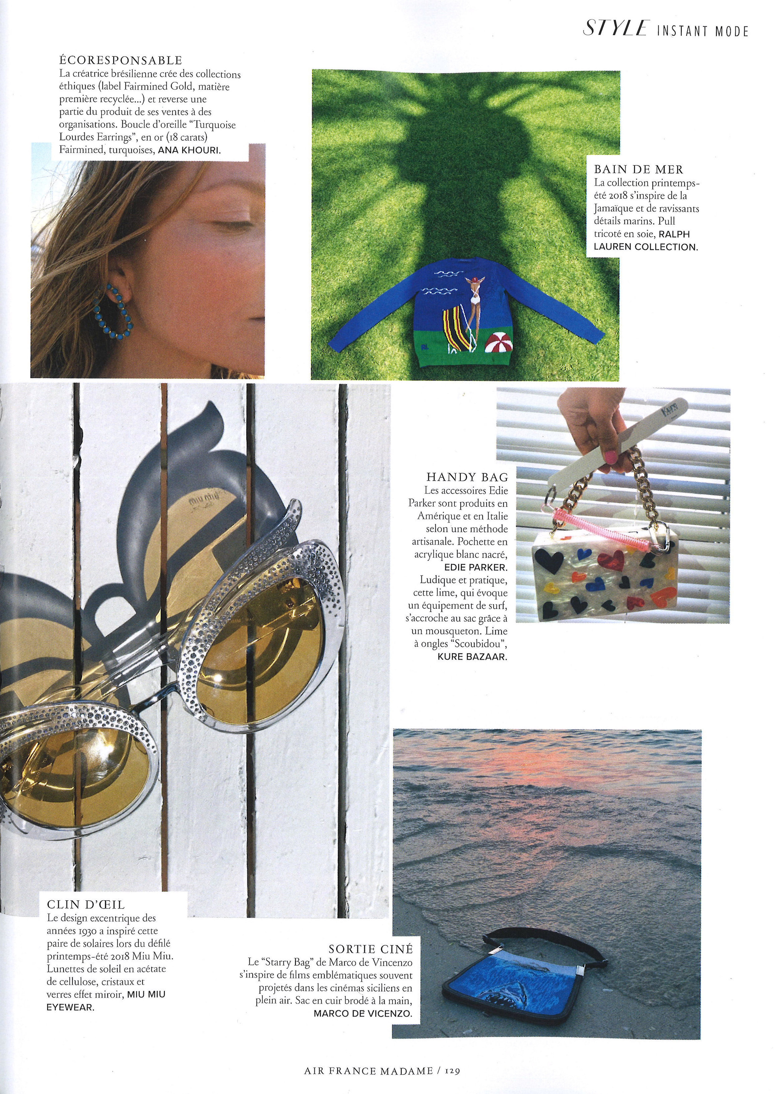 Air France Madame June July 2018 Turquoise Lourdes Earrings