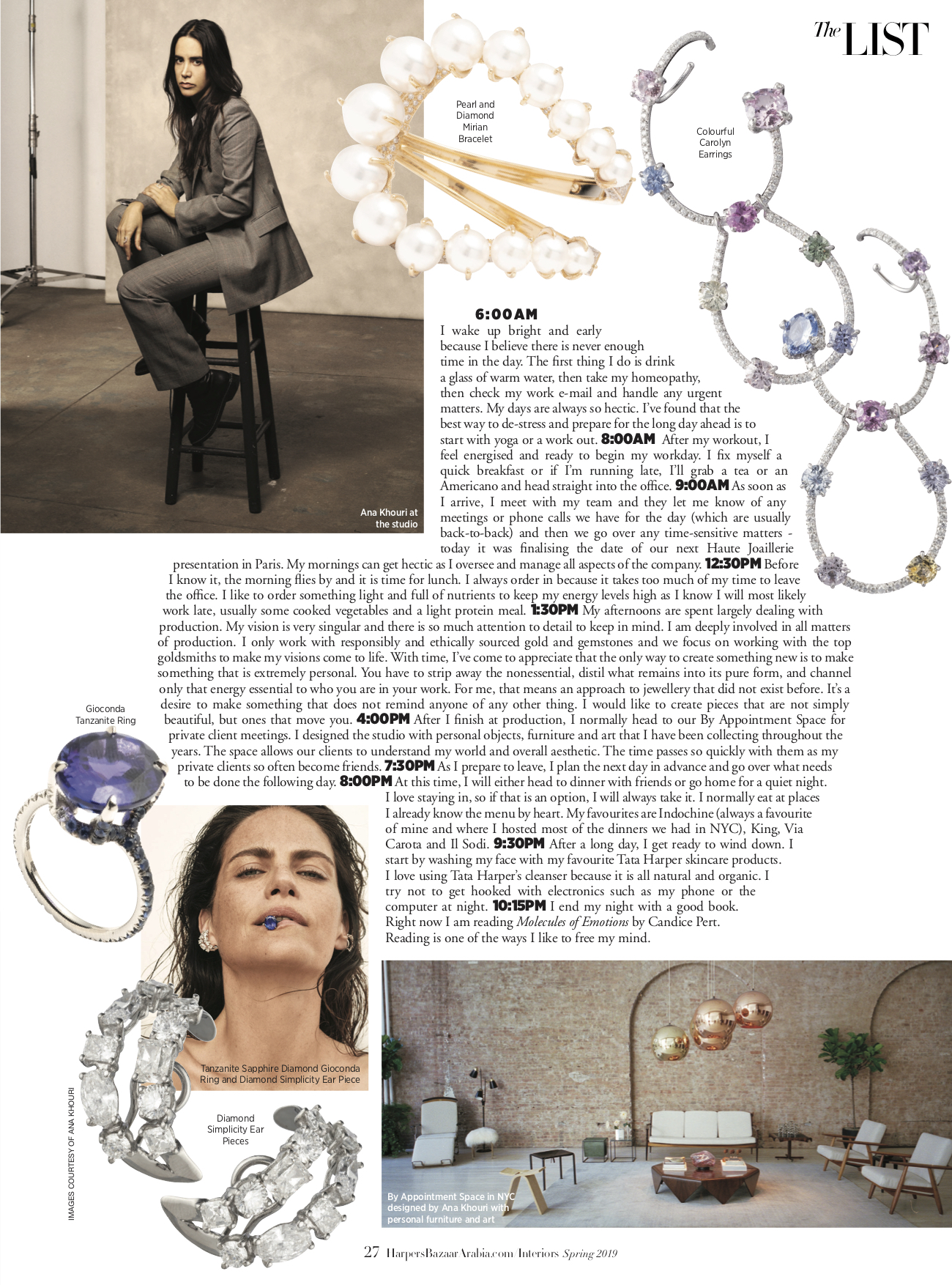 Harpers Bazaar Interiors Middle East Spring 2019 Colorful Carolyn, Tanzanite GIoconda Ring, Crosby, Diamond Simplicity Ear Piece, Pearl Mirian Bracelet.jpg