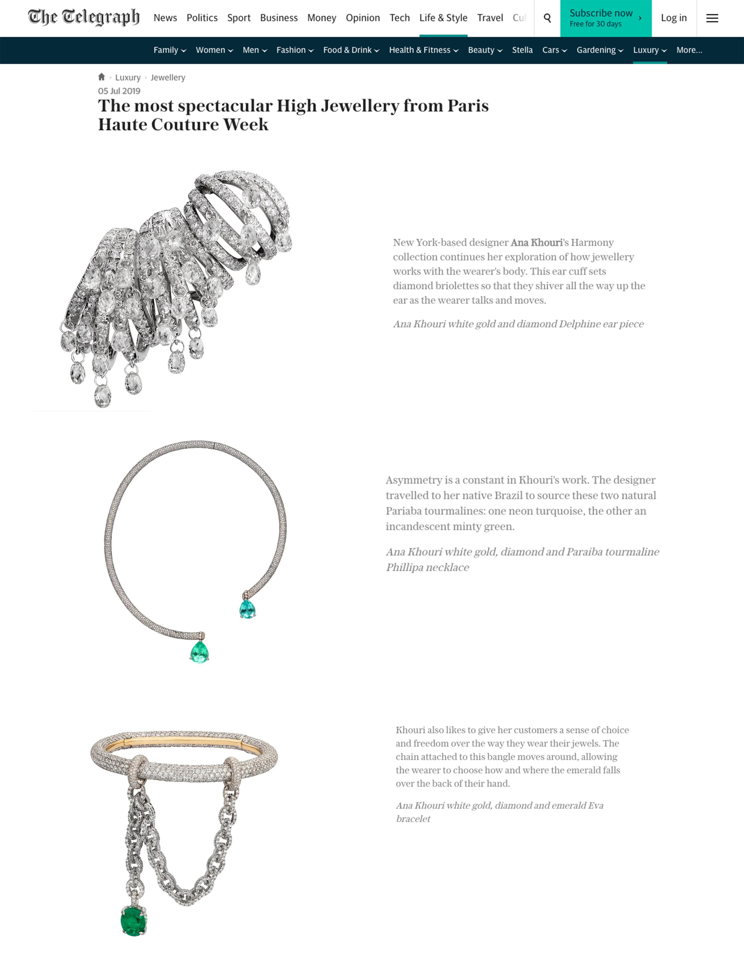 Telegraph.co UK Online July 5, 2019 USA1795 Diamond and Tourmaline Paraiba Phillipa Necklace, USA1797 Diamond and Emerald Eva Bracelet, USA1811 Diamond Briolette Delphine Ear Cuff.jpg