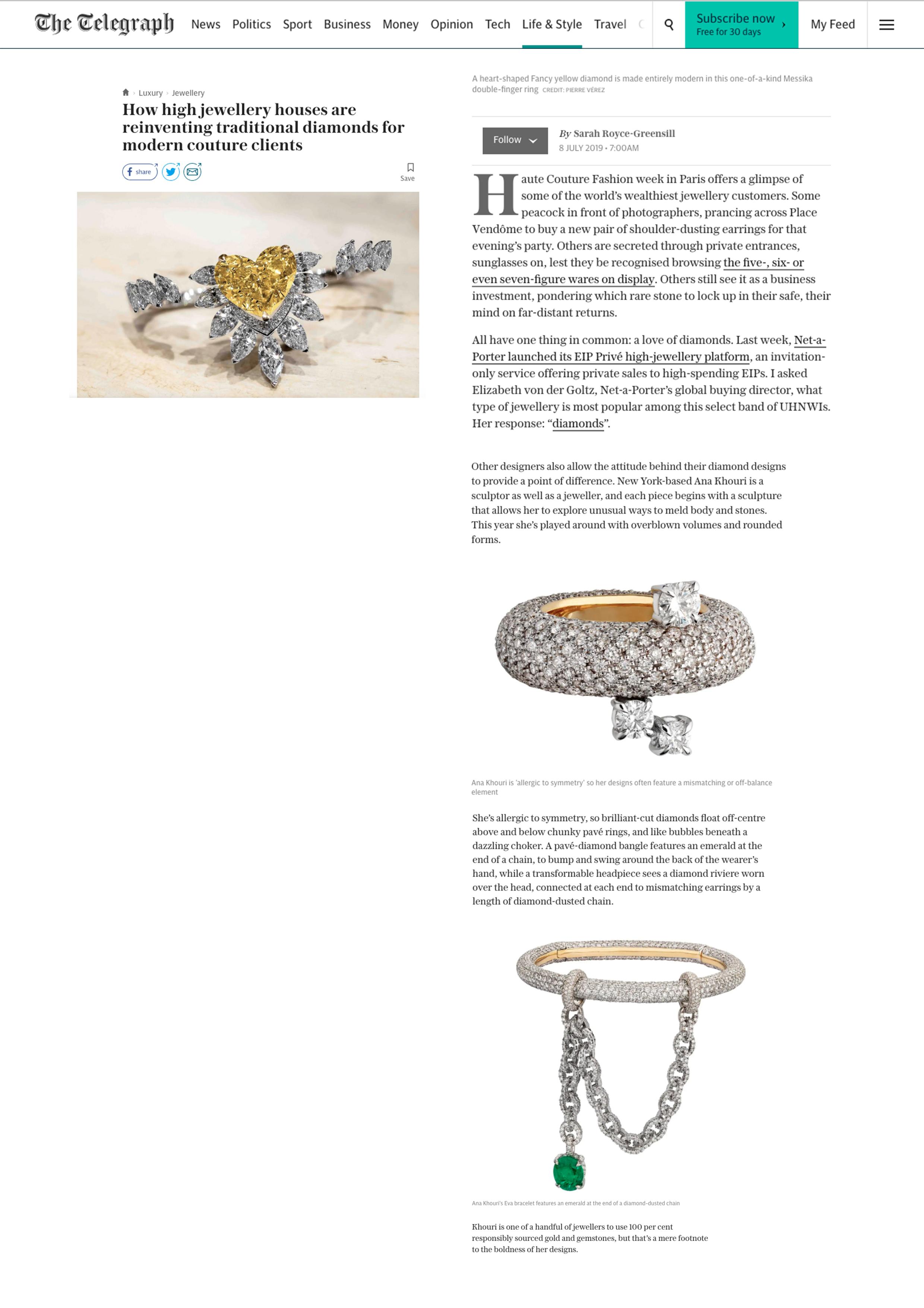 Telegraph.co.uk July 8, 2019 USA1797 Diamond and Emerald Eva Bracelet and USA1816 Diamond Phillipa Ring w 3 Oval Diamonds.jpg