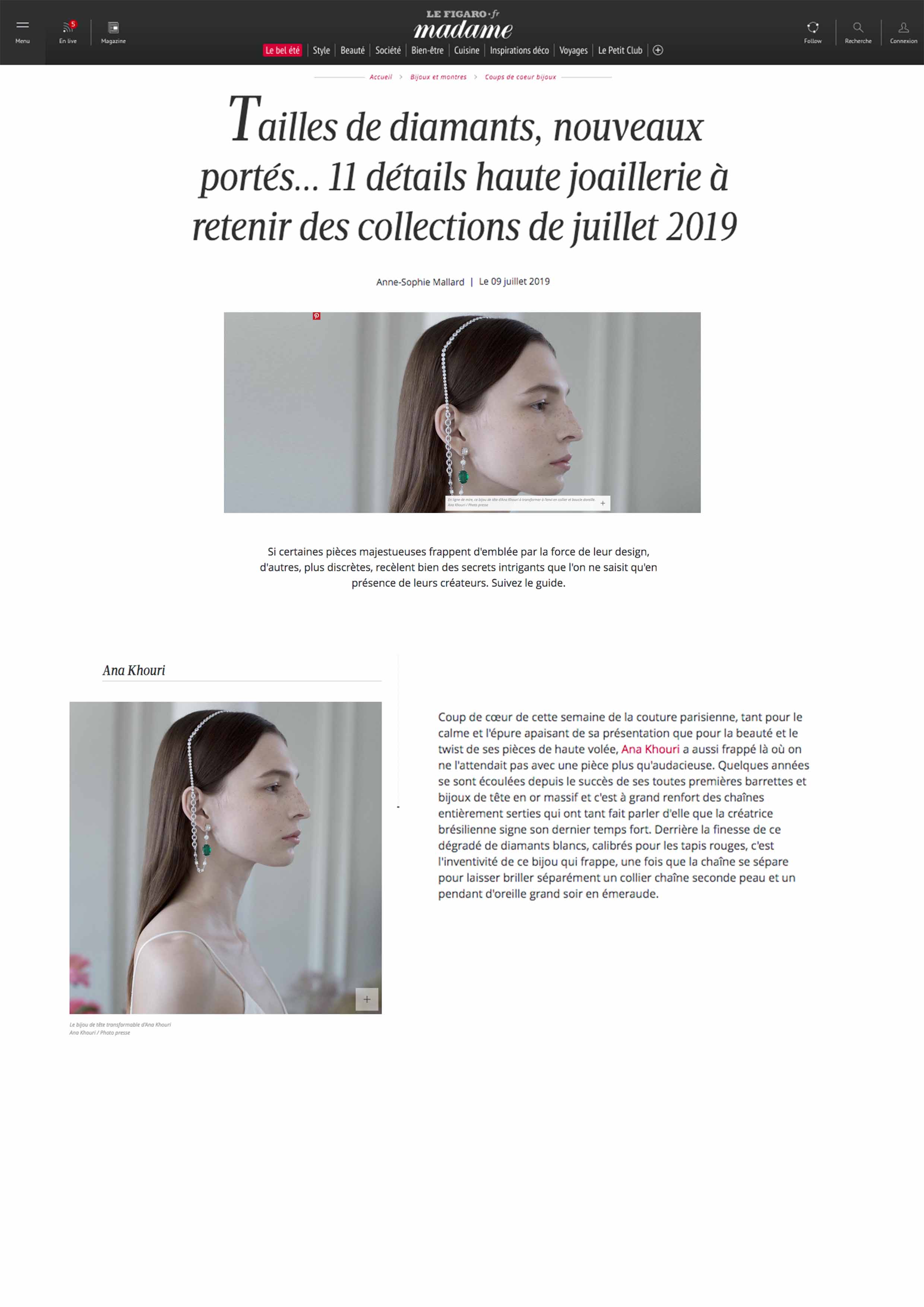 Madame Le Figaro Online July 9, 2019 Diamond and Emerald Headpiece.jpg