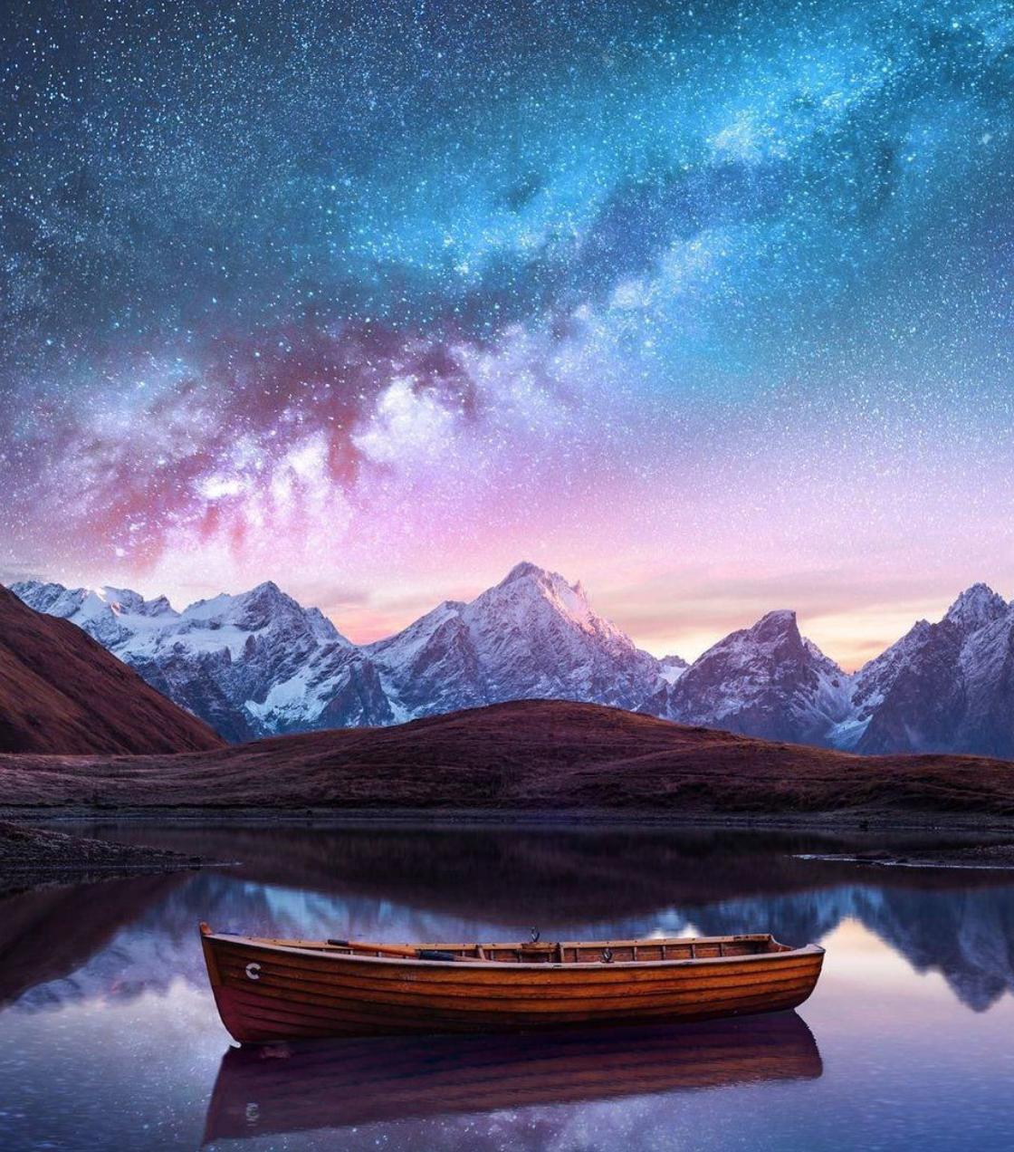 planet earth sky canoe