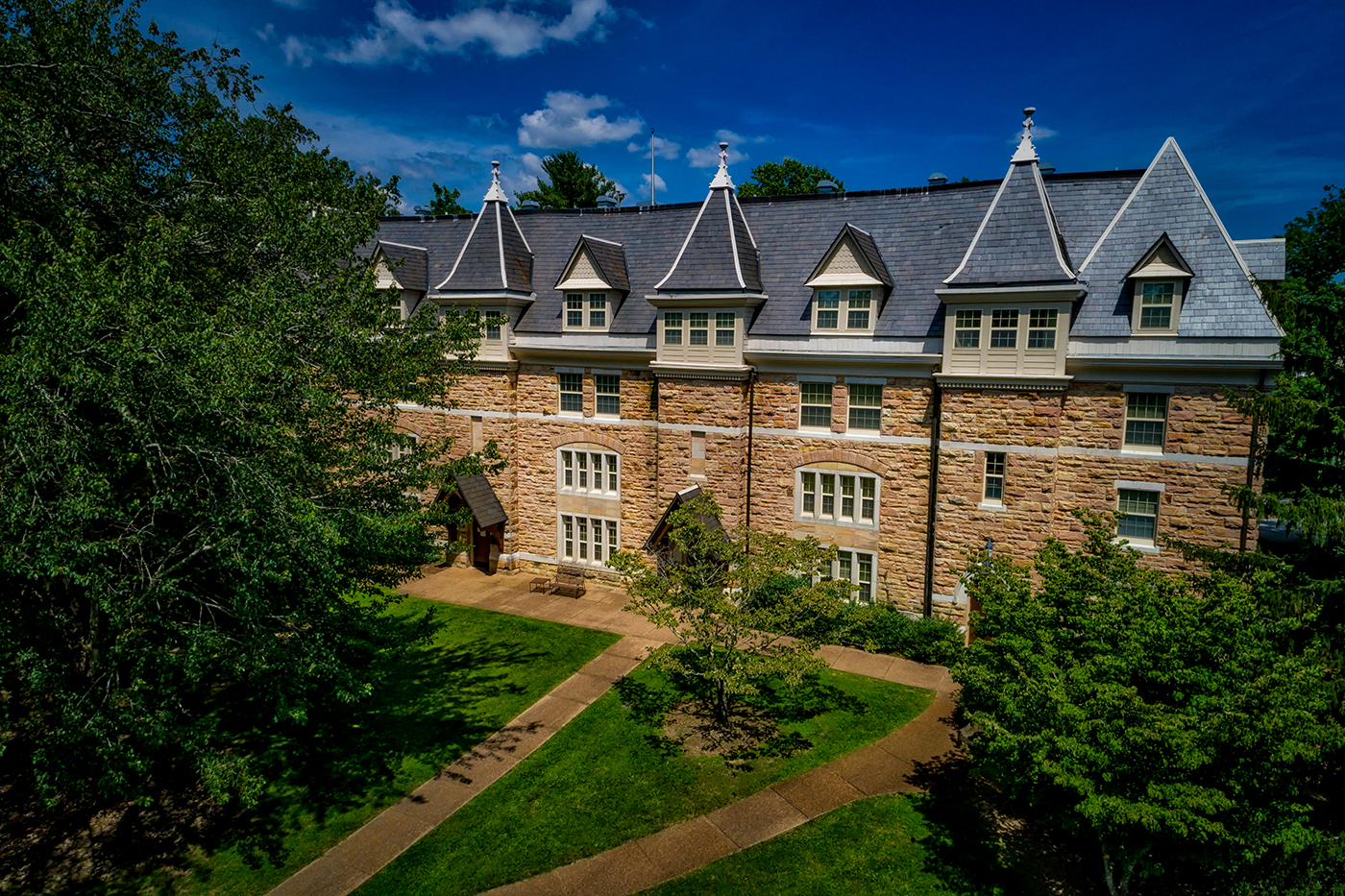 """University of the South - St. Luke's Hall   St. Luke's is a residential hall located near the center of campus at the University of the South – Sewanee. Originally built in 1887 to house the Seminary, this building was refurbished to its former glory to now hold a co-ed residence hall that houses around 103 students. On the main floor, The Oratory was preserved to serve as a study lounge with a section of """"seminar style"""" seating for study groups and interactive discussions."""