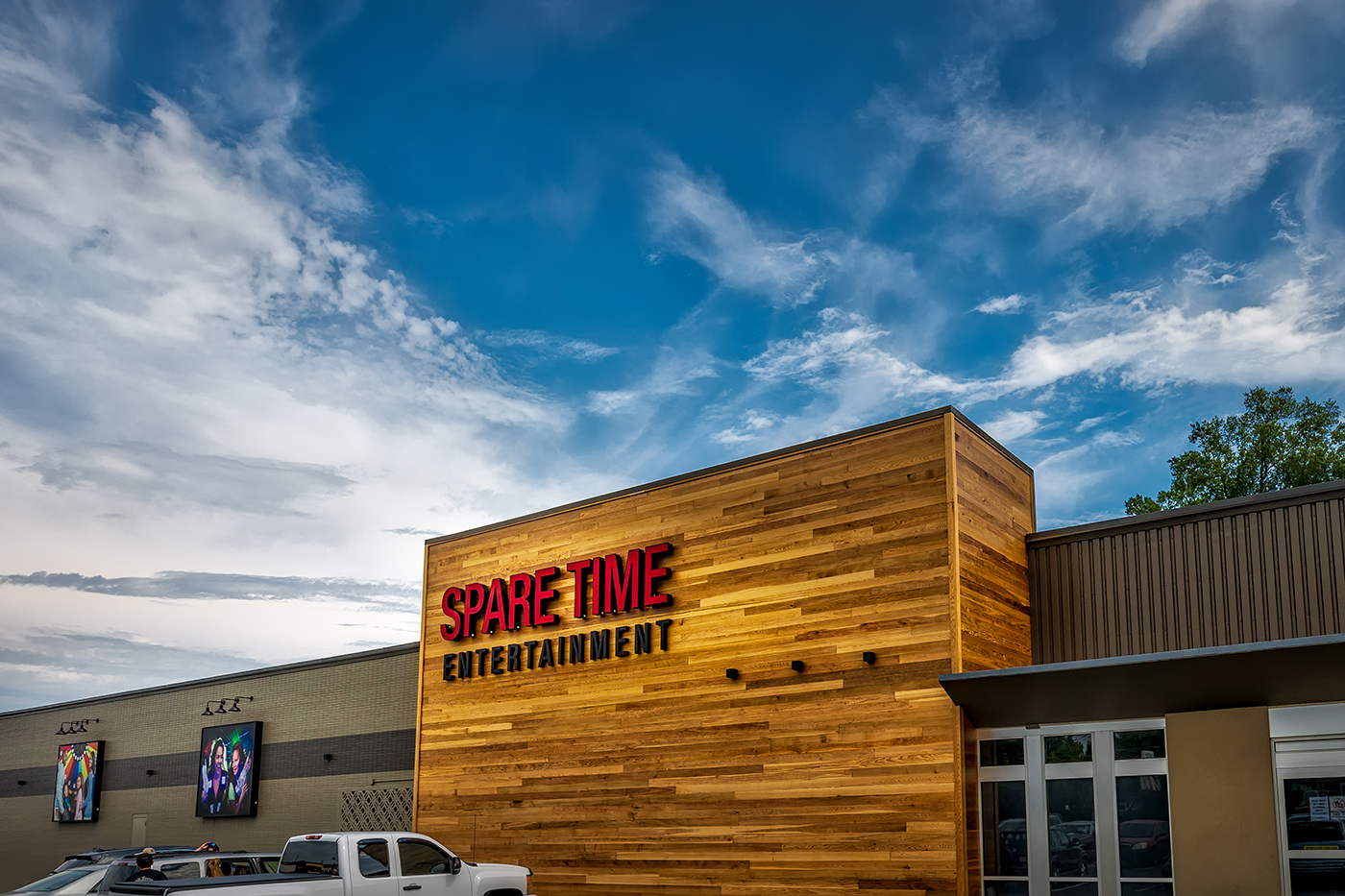 Spare Time Entertainment - Chattanooga   We remodeled an existing bowling alley for the new owner, Spare Time Entertainment. This project consisted of a complete interior and exterior renovation covering bowling, arcade, and putting in a new restaurant space.