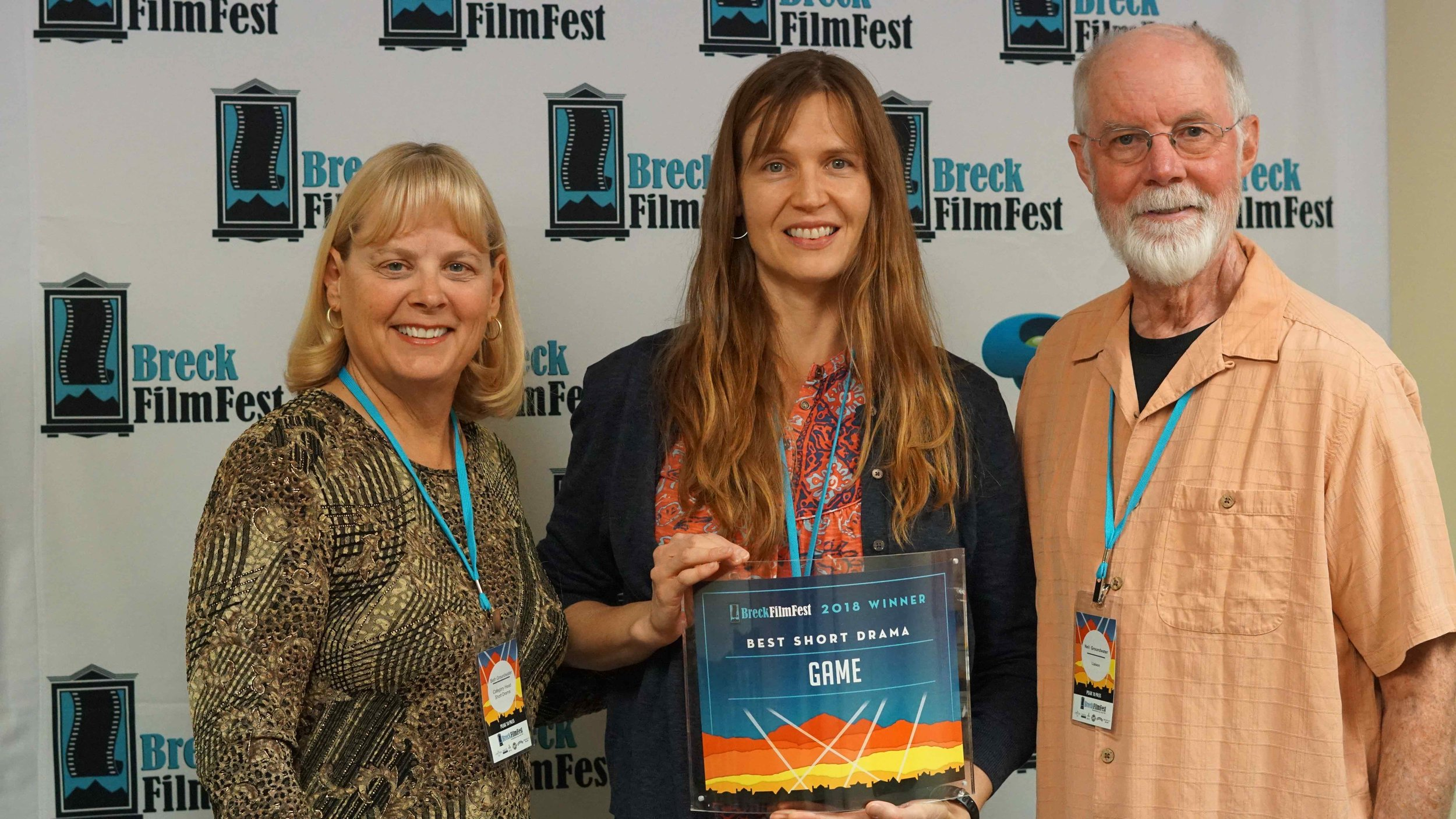 "Jeannie received the BEST SHORT DRAMA for ""GAME"" at the 2018 annual Breck Film Fest flanked from Awards Committee Members Beth and Neil Groundwater."