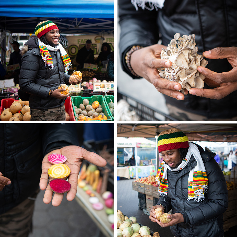 Chef Troy at the Union Square Greenmarket, where he frequently purchases produce from farmers who grow organic crops in rural areas near New York City. Clockwise from top left: Chef Troy with organic squash; oyster mushrooms; freshly cut beets; and potatoes. Photography by Clay Williams