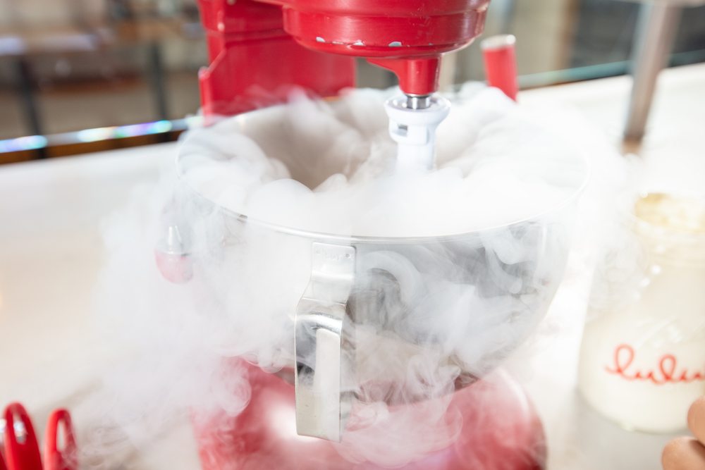 Liquid nitrogen ice cream, which freezes in a matter of seconds instead of the hours it takes to make traditional cold churn products, has a silkier texture. Photography by Libby Volgyes