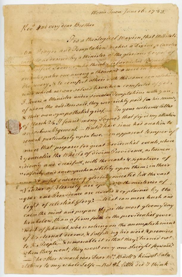 Rev. Samuel Buell Letter to Rev. Timothy Johnes June 16, 1783, p.1