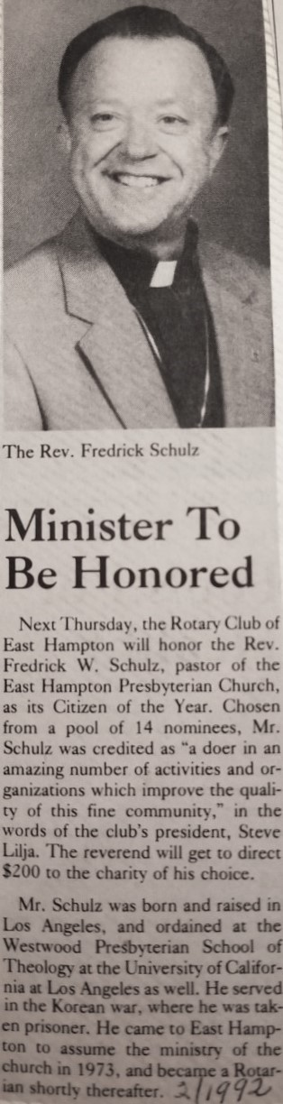 Minister to be Honored -February 1992