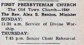 11:30 Worship Service with Rev Renton - 1959