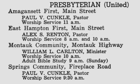 Summer Worship Service at 8 am & 10 am with Rev Renton 1972