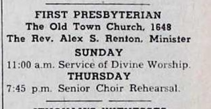 11 am worship service with Rev. Renton - 1960