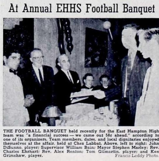 Rev. Renton attends EHHS Football Banquet 1960