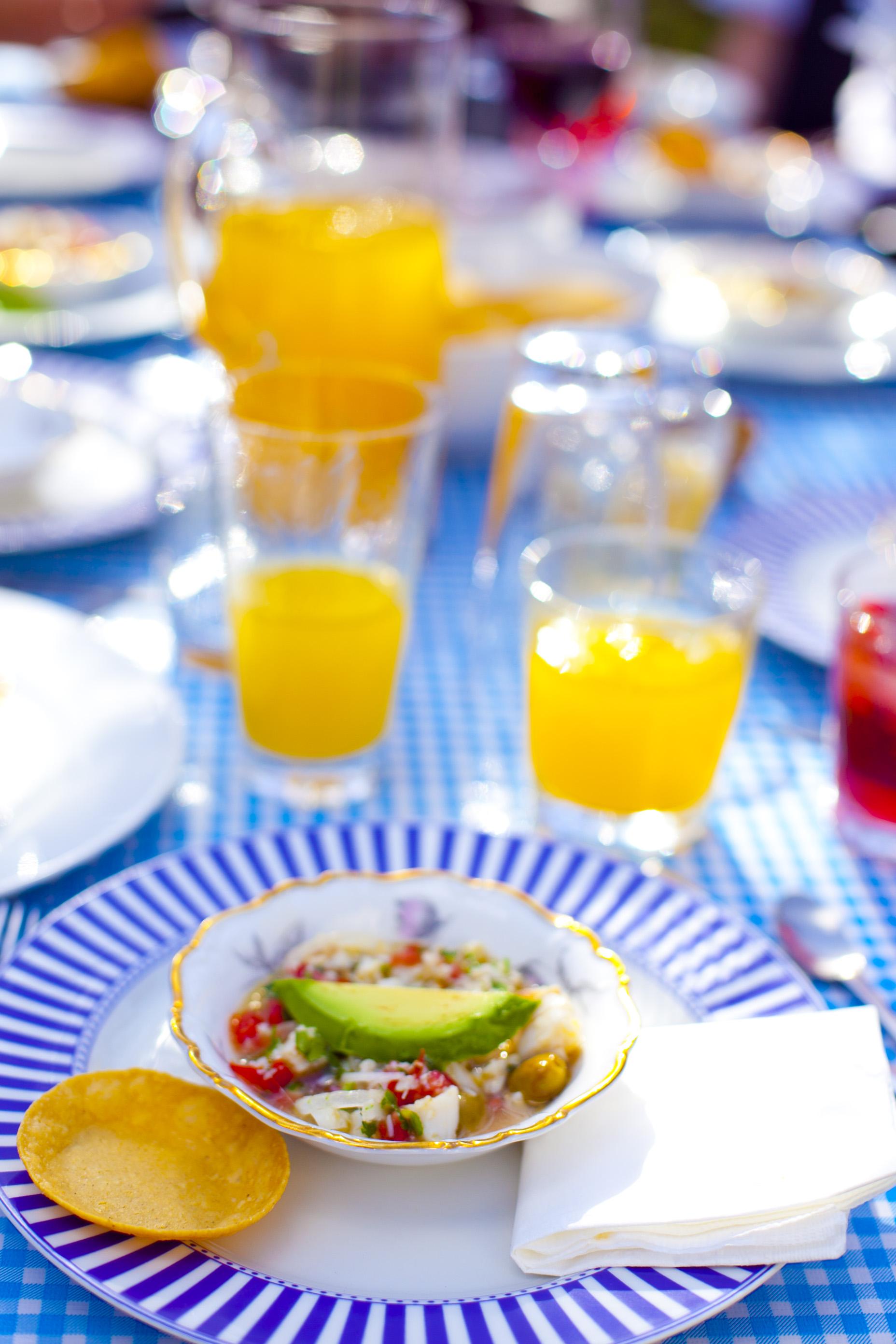 Ceviche Tostadas with fresh orange juice
