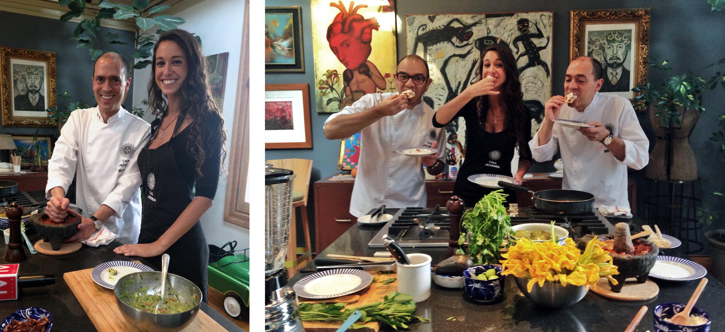Cami Da Silva with Alberto Estua and Jorge Fitz making Mexican food at Casa Jacaranda
