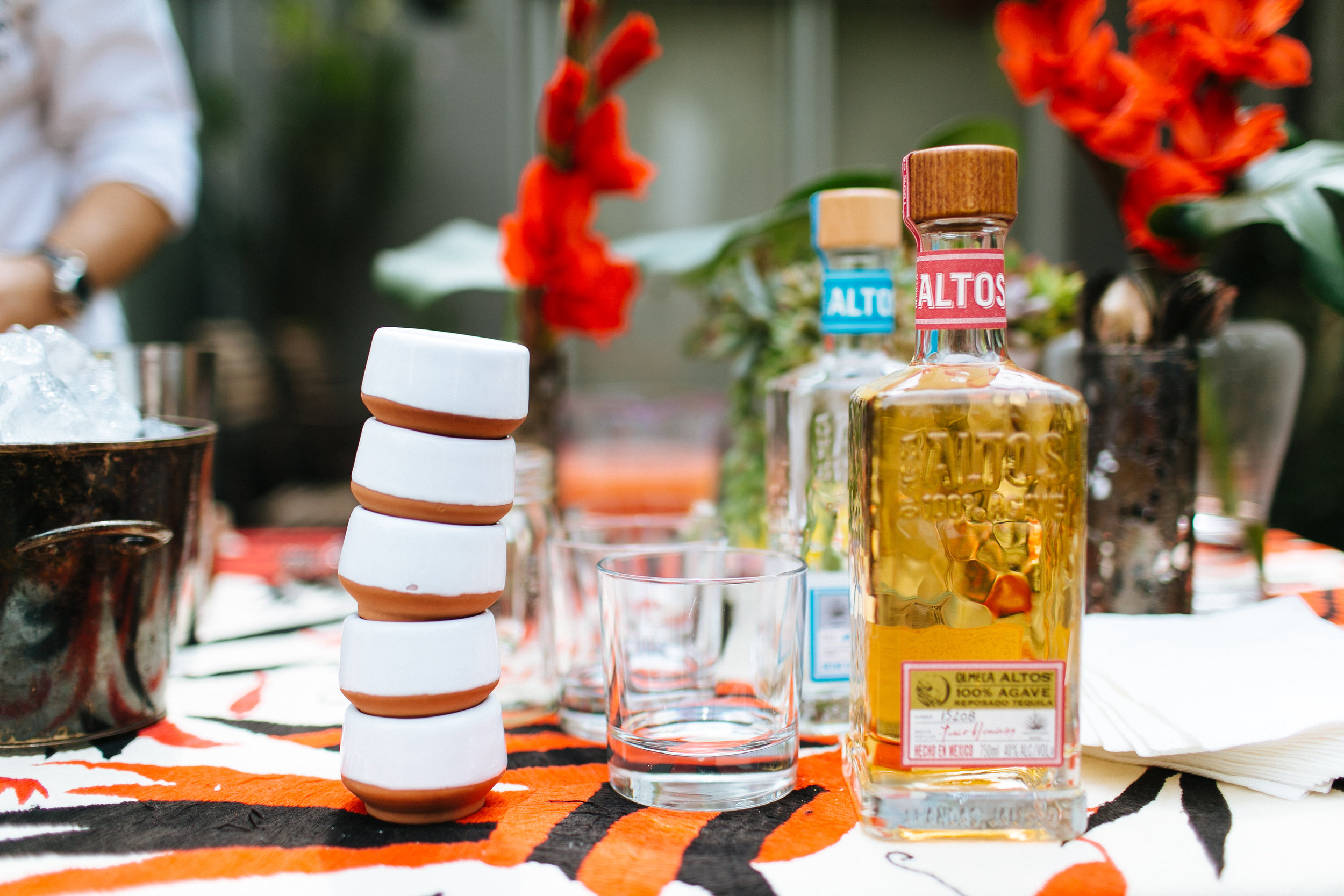 Bottle of Altos tequila at Casa Jacaranda.