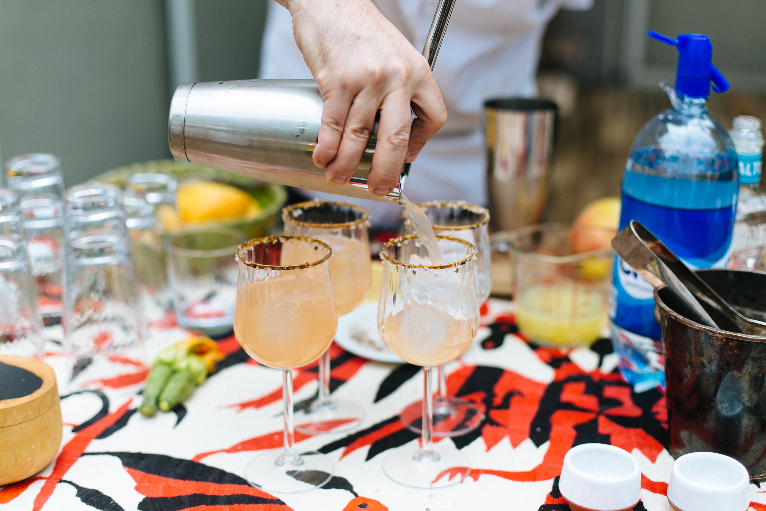 Making cocktails with Altos tequila.