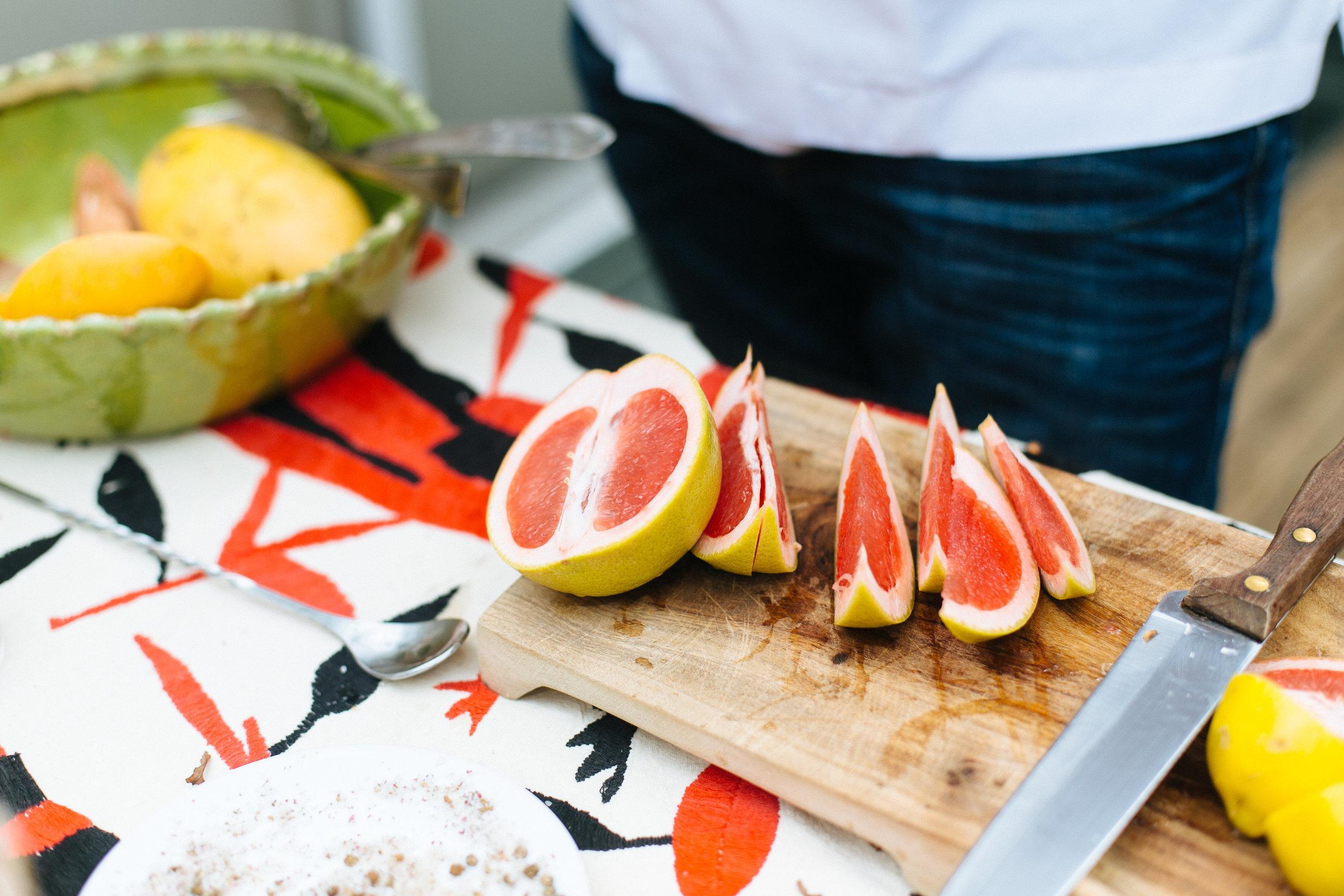Sliced oranges for cocktails.