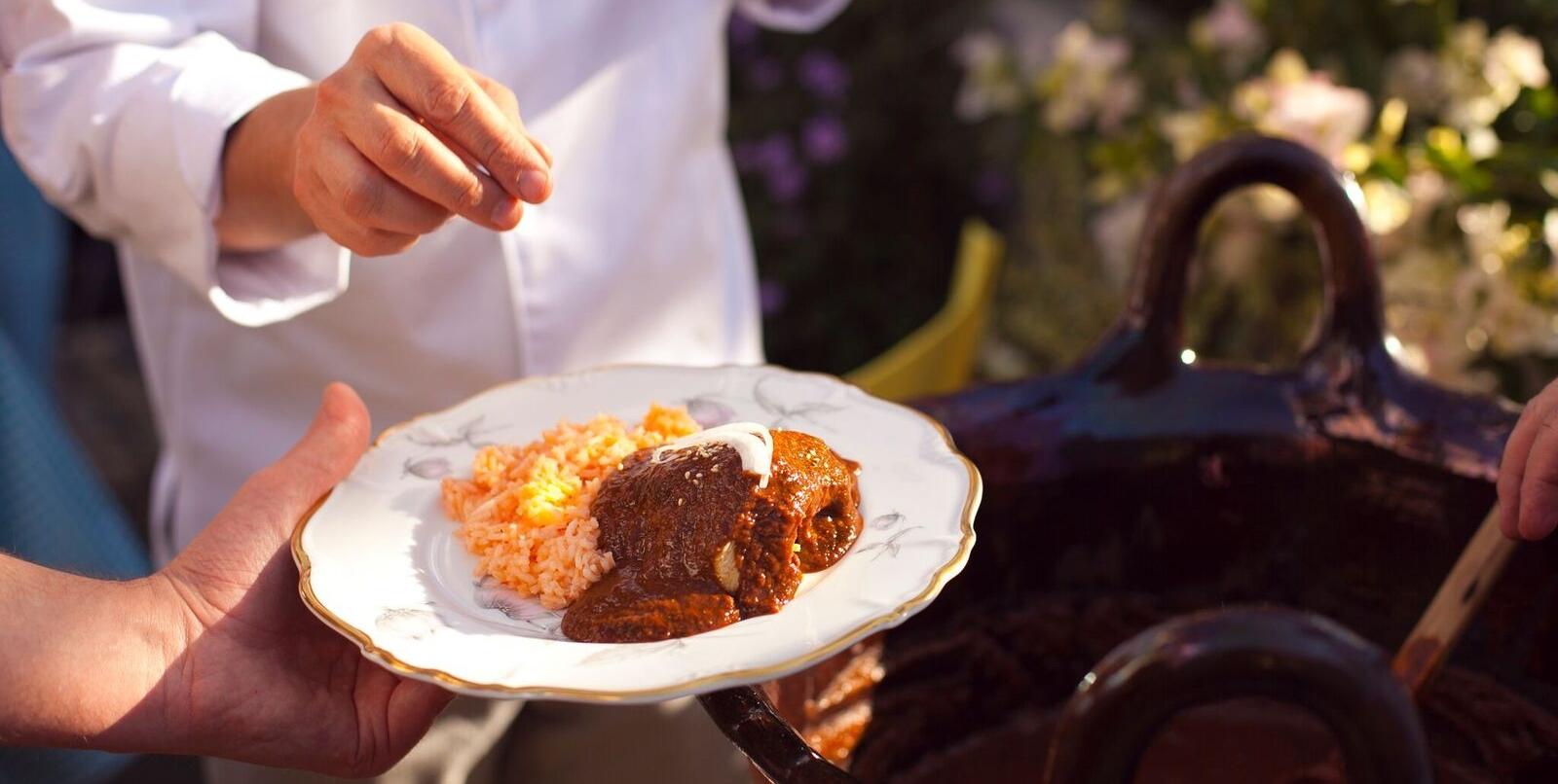 Yummy plate of mole and rice at Casa Jacaranda.