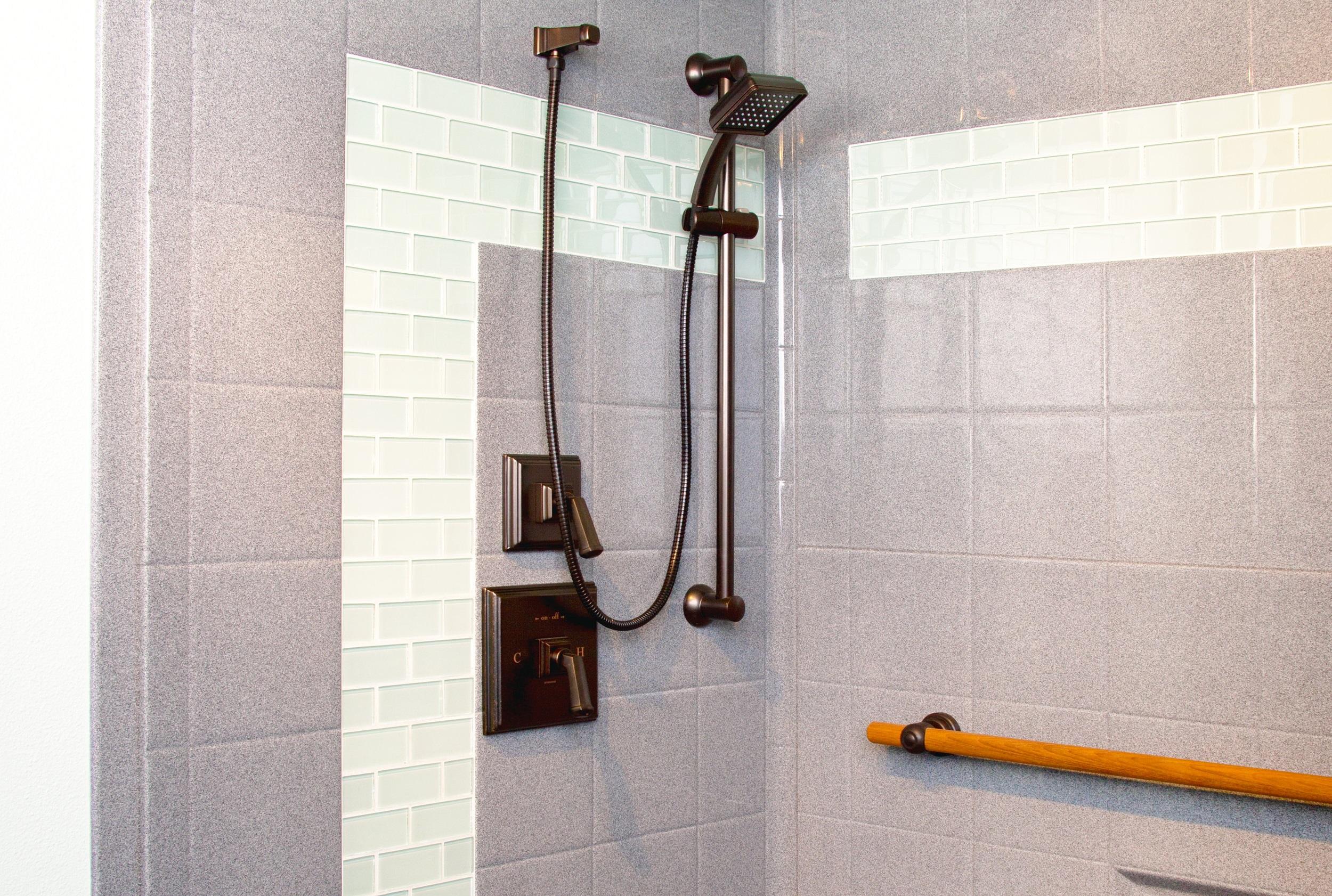 - Walk-in showers
