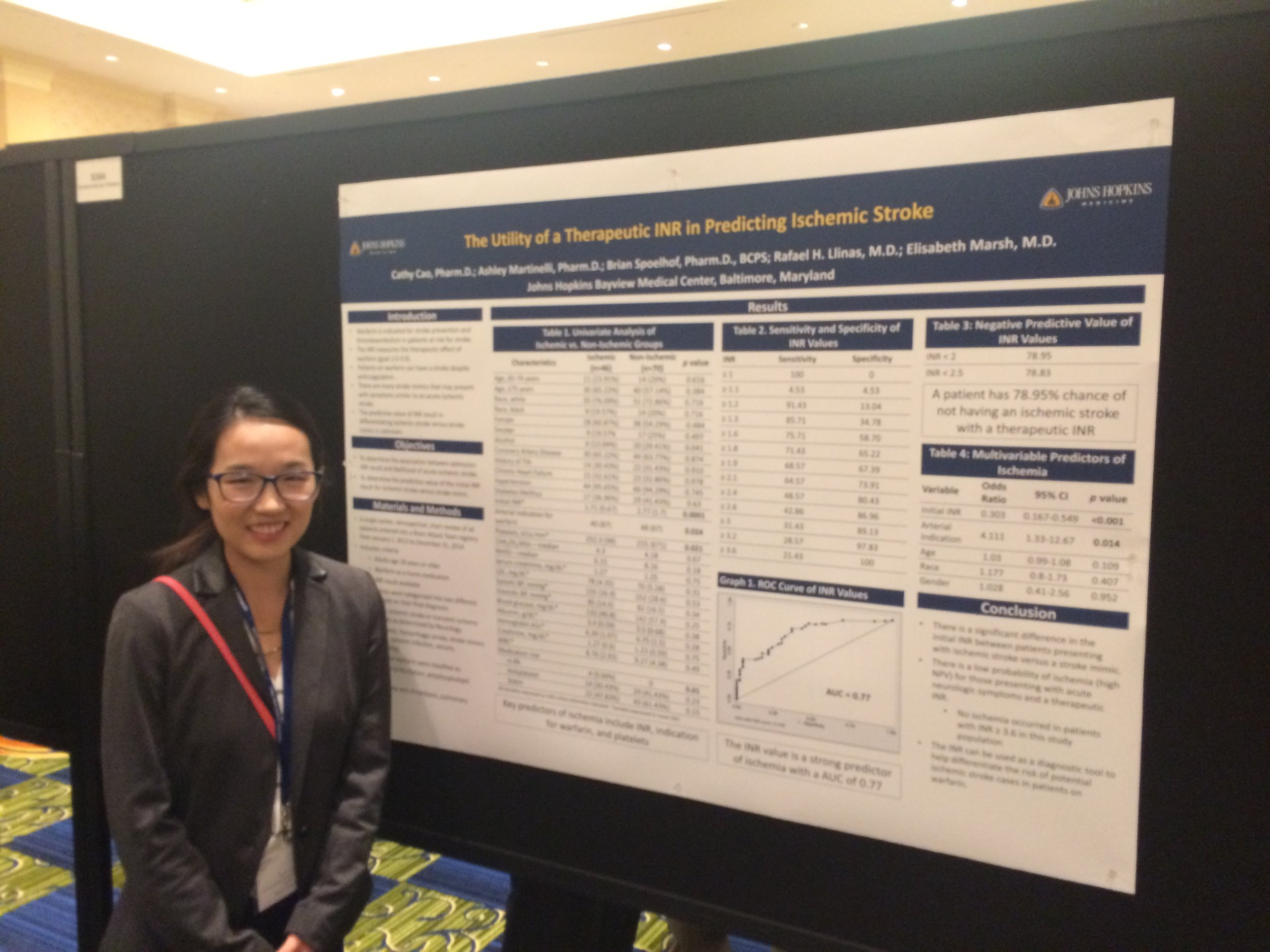 Cathy Cao giving her poster presentation at the 2016 American Neurological Association Annual Meeting in Baltimore.
