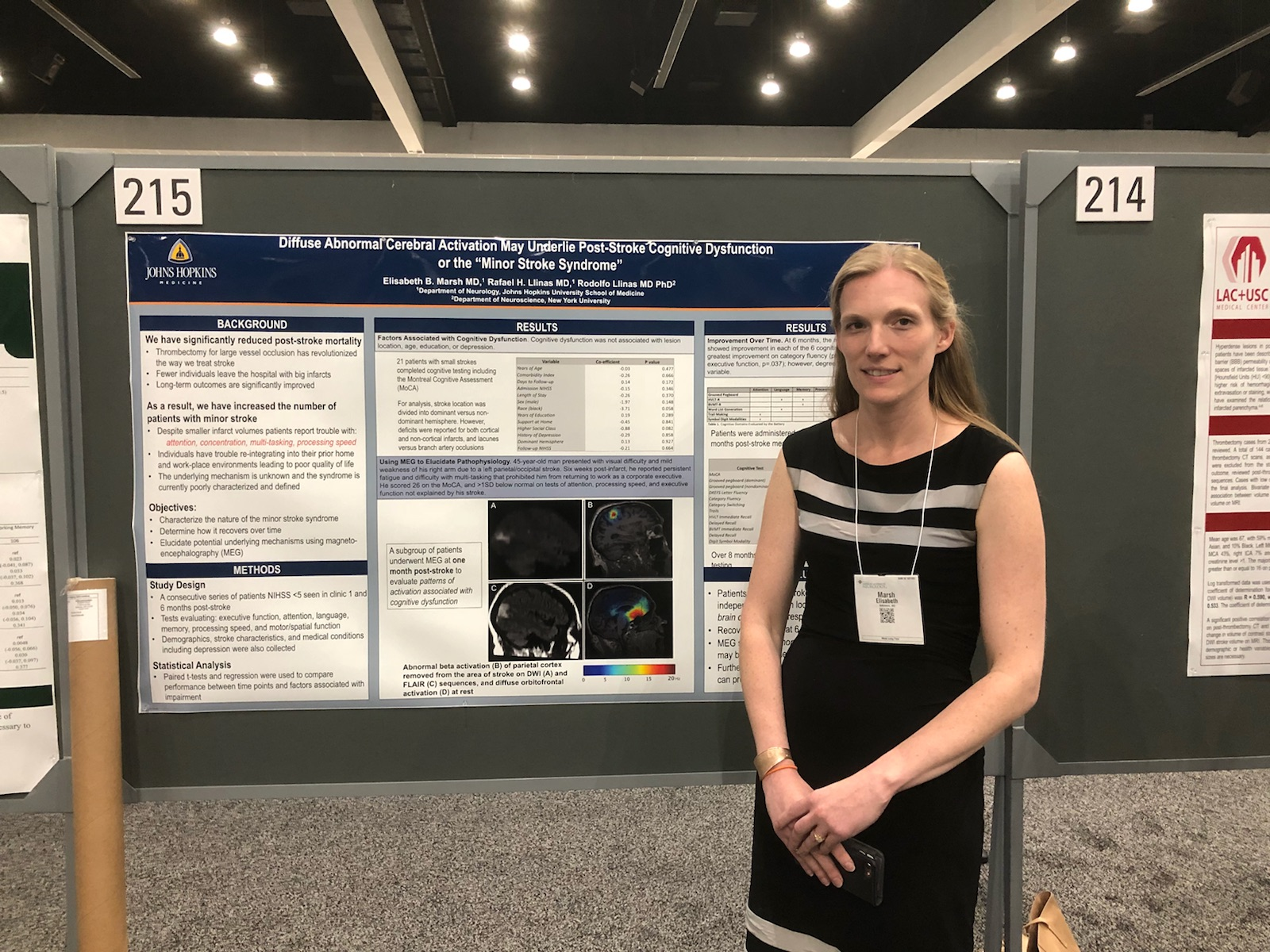 Dr. Marsh presenting preliminary MEG data at the 2018 American Academy of Neurology Annual Meeting in Los Angeles.