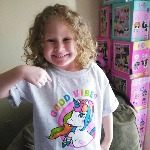 There's nothing better than seeing a unicorn smile! Thank you @irish_chelle83 for participating in our giveaway, and sharing these adorable photos with us. You can grab your own squad gear on our website. Link in bio. 🌈👚🦄💖#rainbowgosquad